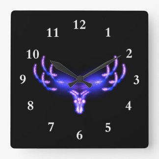 Electric Antlers Square Wall Clock