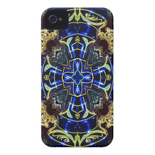 Electric Blue and Gold Medallion Blackberry Case