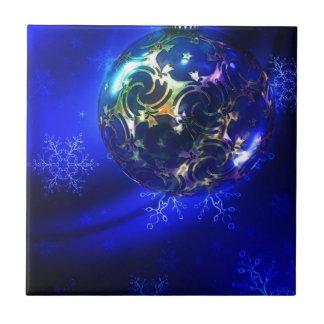 Electric blue christmas bauble design, customize i tile