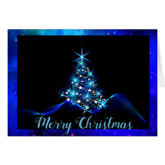 Electric blue Christmas Card