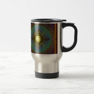 Electric Blue Energy Bursts Mandala Design Gold Sq Stainless Steel Travel Mug