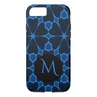 Electric Blue Floral Black Monogram iPhone Case