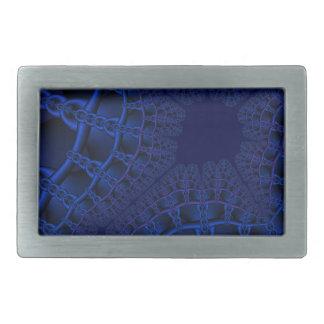 Electric Blue fractal Rectangular Belt Buckles