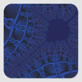 Electric Blue fractal Square Sticker