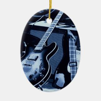 Electric Blue Guitar Ceramic Ornament