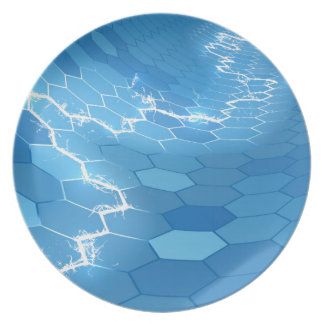 Electric Blue Honeycomb Hexagon Background Dinner Plate