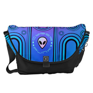 Electric Blue Industrial Cyber Punk Futuristic Courier Bag