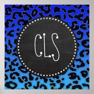 Electric Blue Leopard Print Chalkboard look