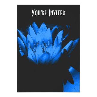 Electric Blue Lily Lotus Blossom Floral Invitation