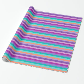 Electric Blue Purple Lines Glossy Wrapping Paper