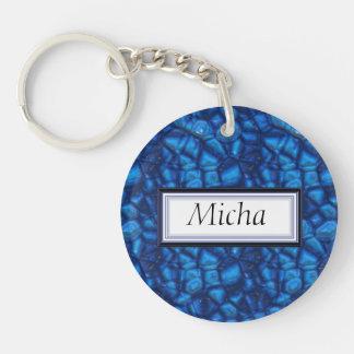 Electric Blue Rough & Raw Sapphires Monogram Key Chain