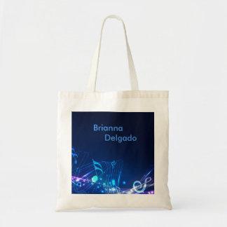 Electric Blue Sheet Music Tote Bag