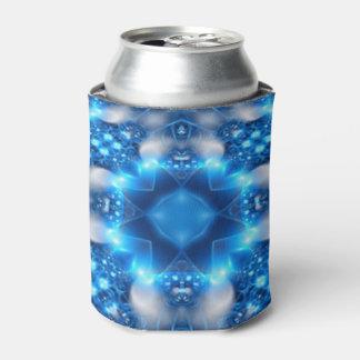 Electric Blue Stars Kaleidoscope Mandala Can Cooler