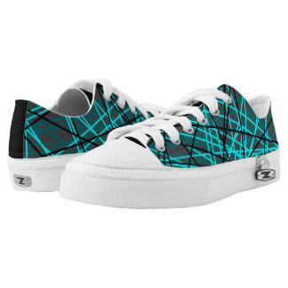 Electric blue string pattern low top sneakers
