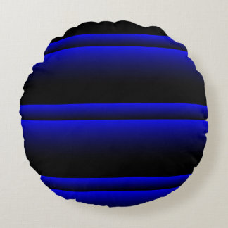 Electric Blue Stripes Round Cushion