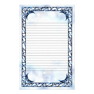 Electric Blue Upright Crescent Lined Stationery