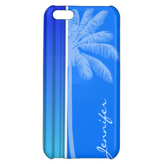 Electric Blue Vertical Stripes; Striped; Palm iPhone 5C Cases