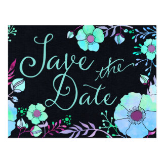 Electric Blue Watercolor Flower Save the Date Postcard
