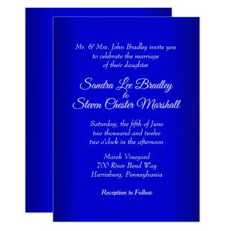 "Electric Blue Wedding Invitation 5"" x 7"""