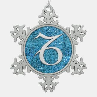 Electric Capricorn Pewter Snowflake Decoration