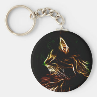Electric cat face pofile key ring