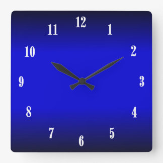 Electric Cobalt Blue White Numbers 2 Wall Clock