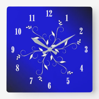 Electric Cobalt Blue White Numbers Accent Square Wall Clock