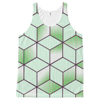 Electric Cubic Knited Effect Design All-Over Print Singlet