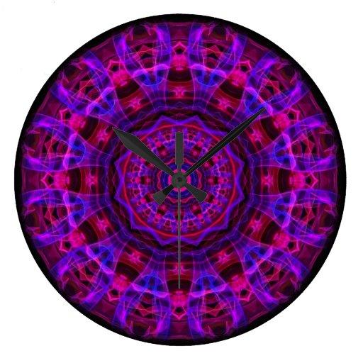 Electric Current kaleidoscope Round Clocks