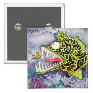 """Electric Ed"" Fish With Attitude 15 Cm Square Badge"