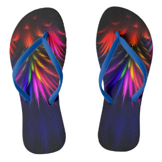 electric feathered drip unisex flip flops