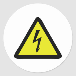 electric flash warning sign round sticker