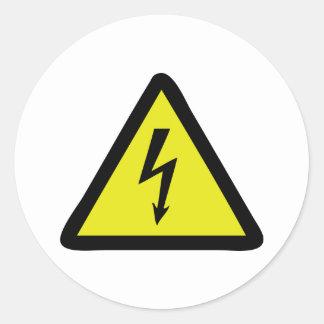 electric flash warning sign round sticker