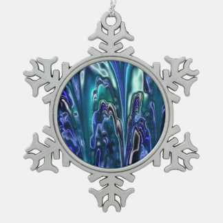 electric fractal 1c snowflake pewter christmas ornament