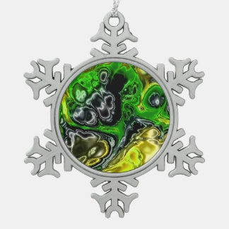 electric fractal 4b snowflake pewter christmas ornament