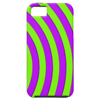 Electric green and neon purple stripes iPhone 5 case