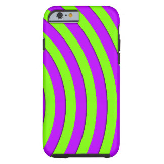 Electric green and neon purple stripes tough iPhone 6 case