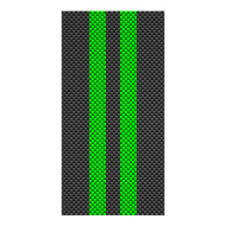Electric Green Carbon Fiber Style Racing Stripes Picture Card