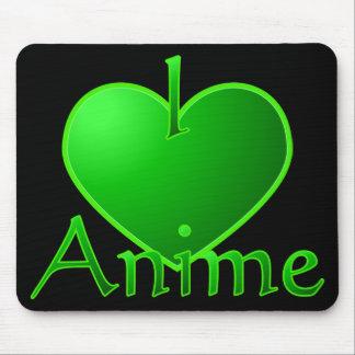 Electric Green I Heart Anime Mousepad