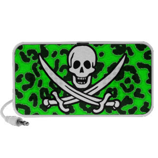 Electric Green Leopard Animal Print Jolly Roger Notebook Speakers