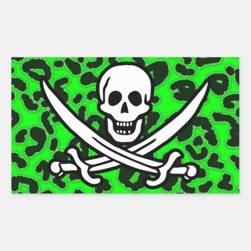 Electric Green Leopard Animal Print Jolly Roger Rectangular Stickers