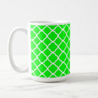 Electric Green Quatrefoil Basic White Mug