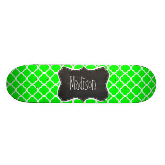 Electric Green Quatrefoil; Retro Chalkboard Skate Boards