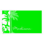 Electric Green Tropical Hibiscus; Palm Pack Of Standard Business Cards