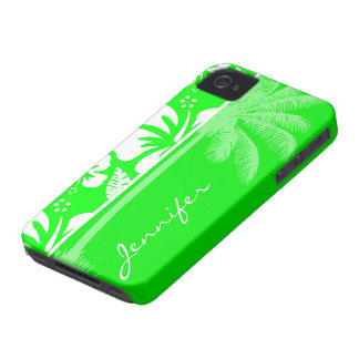 Electric Green Tropical Hibiscus; Palm iPhone 4 Case-Mate Case