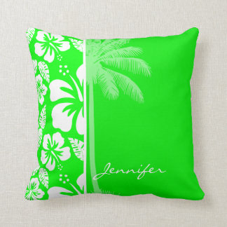 Electric Green Tropical Hibiscus; Palm Throw Pillow