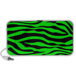 Electric Green Zebra Stripes Animal Print Speakers