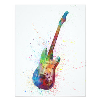 Electric Guitar Abstract Watercolor 11 Cm X 14 Cm Invitation Card
