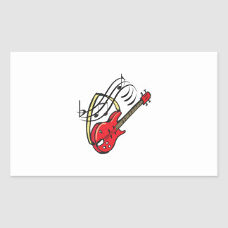 ELECTRIC GUITAR AND MUSIC RECTANGULAR STICKER