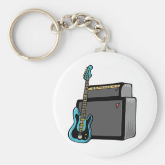 electric guitar bass and amp basic round button key ring